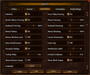 In-game GUI and Language settings