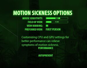 Motion Sickness prevention settings.