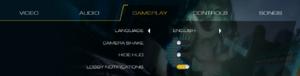 Language and gameplay settings.