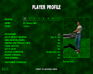 In-game player settings.