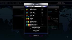 Controller configuration menu.