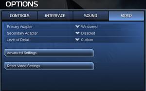 Basic video options.