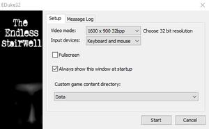 Video settings in startup window.