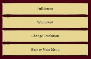 In-game screen options menu.