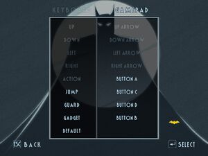 Controller remapping menu.