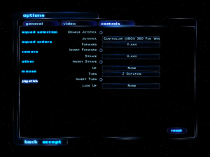 In-game joystick settings.