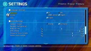 Language and audio settings.