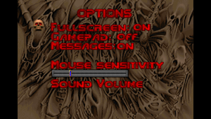 In-game options menu (for Doom/Doom II).