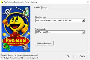 Pac-Man: Adventures in Time graphics -setup menu.