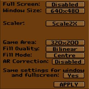 Exult video settings.