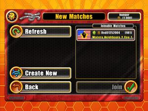 Matchmaking finding joinable matches. Match information displayed also includes what platform the opponent is playing GBWG on.