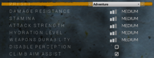 In-game difficulty settings.