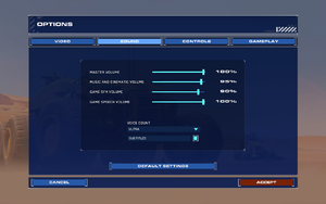 In-game sound settings