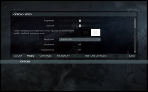 In-game video settings (1/2).