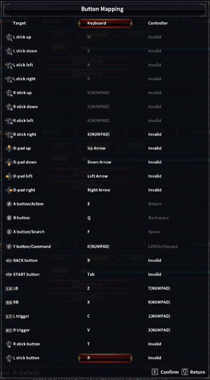 "Keyboard ""Button Mapping"" settings"
