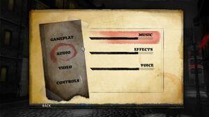 The audio menu.