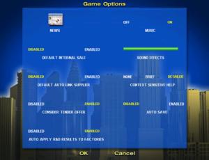 In-game options menu.