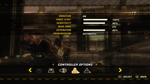 In-game controller settings.