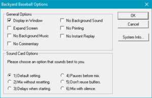"General and sound card options, accessed from pressing Space ␣ and selecting ""Options...""."