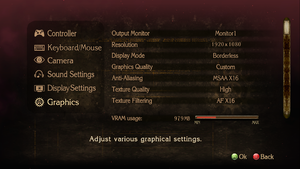 Graphics settings, top portion.