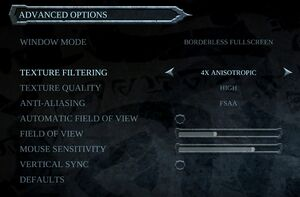 PC Video settings.