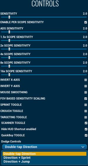 In-game input settings.