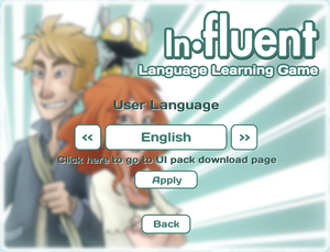 Language setting for interface from main menu.