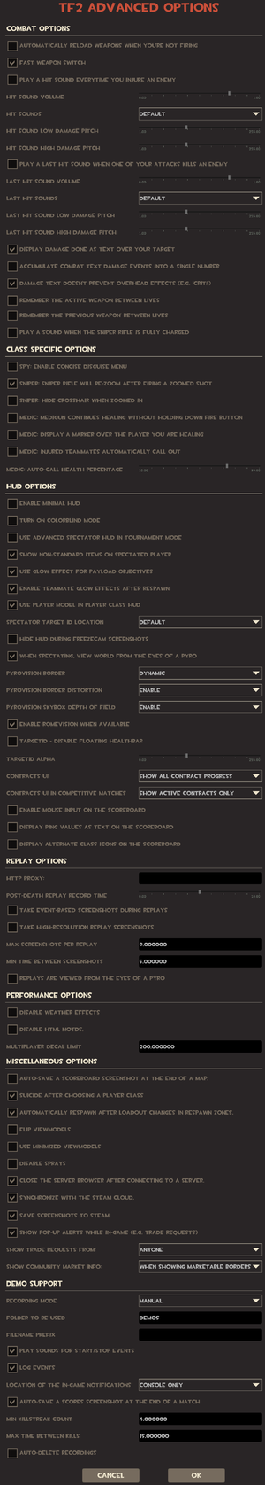 In-game advanced options/multiplayer settings.