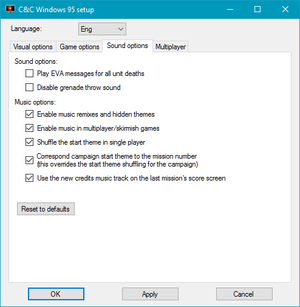 External audio settings (for the fan patch).