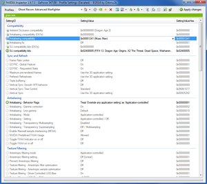 Nvidia Inspector antialising compatibility setting for GRAW.