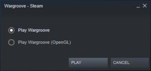 Steam launch menu (Windows)