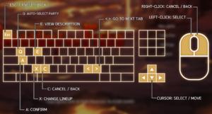 Menu controls (mouse and keyboard)