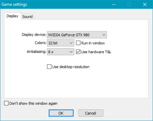 Run <path-to-game>\sd\settings.exe for SD version, <path-to-game>\hd\settings.exe for HD version.