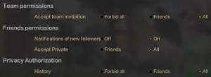In-game friend settings.
