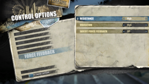 In-game force feedback settings.