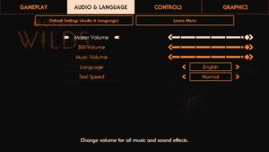 Audio and Language settings