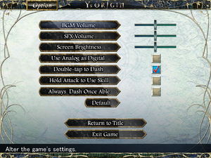 In-game settings. Few settings related to audio and input which are also available through configuration utility.
