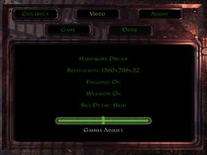 In-game video settings (GOG.com version).