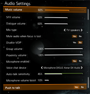 Ingame audio settings.