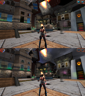 "Top screenshot shows rendering issues when ""Use Vertex Lighting"" option is checked and HUD missing effects."