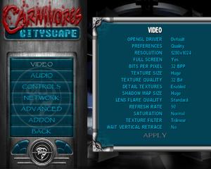 Video options menu.