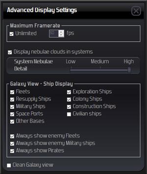 Advanced display settings.
