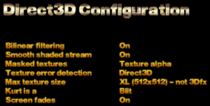 Direct3D settings.