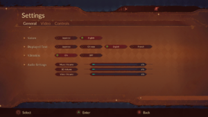 In-game Language and Audio Settings.