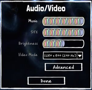 Audio/Video settings.