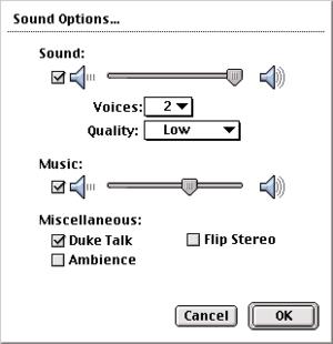 In-game audio settings (Classic Mac OS).