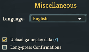In-game miscellaneous settings.