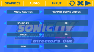 Audio settings tab from external configuration tool.