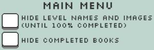 In-game main menu settings.