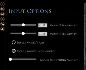 Input options.